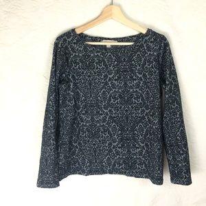LOFT Long Sleeve Shirt Black Gray Velvet Large
